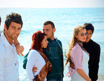 Turkish friends against blue sea Stock Photo