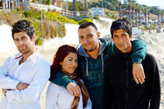 Turkish friends on Kusadasi beach Royalty Free Stock Images
