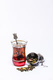 Turkish glass infuser and Mango green tea Stock Photography