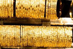 Turkish gold bracelets for sale on a stall royalty free stock photos