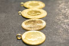 1/4 Turkish Gold coin necklace stock photo