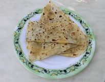Turkish gozleme tortillas stuffed with potatoes and cheese Royalty Free Stock Photo
