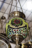 Turkish green  lamp for sale in the Grand Bazaar Stock Photography