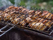 Turkish grill and grilled chicken meat. And smoke Royalty Free Stock Photography