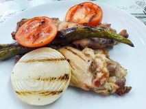Turkish Grilled Chicken Kebab with Onions, Tomatoes and Pepper. / Kebap. Traditional Food Stock Photos