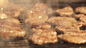 Turkish grilled meatball. (slider shot) close up stock video