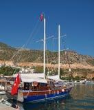 Turkish Gulet in kalkan. A turkish pleasure boat in the harbour at kalkan stock photo
