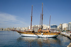 Turkish Gulet yacht, Malta. A Turkish Gulet type yacht at Sliema Malta.  The Gulet is a traditional design of a two-masted wooden sailing vessel from Royalty Free Stock Photos