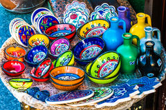 Turkish handcraft colorful ceramics Royalty Free Stock Photo