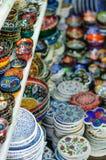 Turkish handmade ceramics. Photo of handmade ceramic vessels Stock Photo