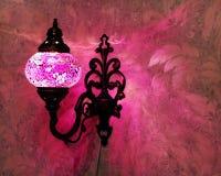 Turkish handmade lamp. Turkish handmade pink lamp on the wall Stock Photography