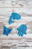 Turkish Handmade  Symbolic Ceramic Figurines on White Wooden Bac Royalty Free Stock Photos