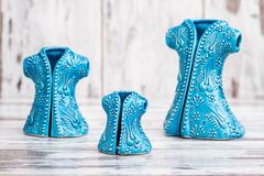 Turkish Handmade  Symbolic Ceramic Figurines on White Wooden Bac Royalty Free Stock Photo