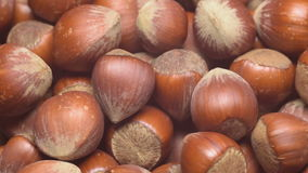 Turkish hazelnuts rotating. A pile of shelled hazelnuts rotating smoothly and slowly. Tripod used under studio lighting stock footage