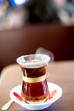 Turkish hot tea with blur background Stock Photography