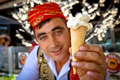 Turkish Ice Cream Vendor Royalty Free Stock Photography