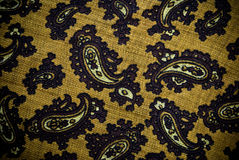 Turkish or Indian paisley material background or texture. Closeup of turkish pattern material stock image