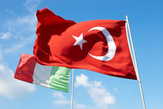 Turkish and italian flags Royalty Free Stock Images