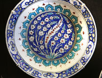 Turkish Iznik arabesque ceramic pottery dish Royalty Free Stock Images