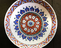 Turkish Iznik arabesque ceramic pottery dish Royalty Free Stock Photography