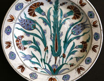 Turkish Iznik arabesque ceramic pottery dish Royalty Free Stock Image
