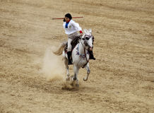 Turkish javelin. Equestrian sport is played on the field as a team Stock Photos