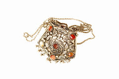 Turkish jewelry. A beautiful handmade silver money purse with 6 red stones on top Royalty Free Stock Photos
