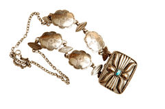 Turkish jewelry. A beautiful handmade antique silver money purse whit one blue stone Stock Images