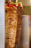 Turkish Kebab. Two delicious Doner - Turkish Kebab rolls are ready to be served to the clients Royalty Free Stock Photos
