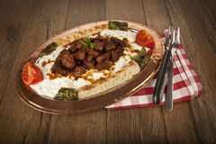 Turkish Kebab eggplant and meat alinazik Stock Photo