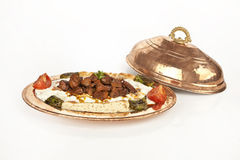 Turkish Kebab eggplant and meat alinazik white background. Turkish Kebab eggplant and meat alinazik royalty free stock photo