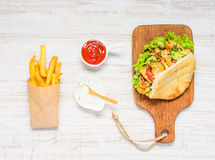 Turkish Kebab with French Fries Stock Images