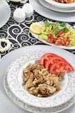 Turkish kebab with french fries and tomatoes Royalty Free Stock Photos