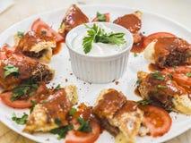 Turkish kebab. Served in crust Royalty Free Stock Image