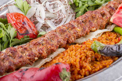 Turkish Kebab. With spice on a plate Royalty Free Stock Photo