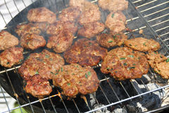 Turkish kofte on the grill Stock Image