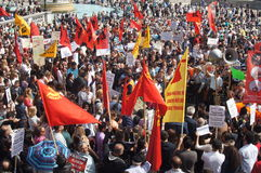 Turkish and Kurdish protesters Stock Photo