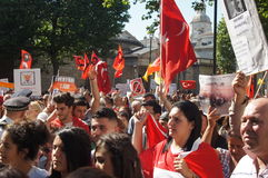 Turkish and Kurdish protesters Royalty Free Stock Photos