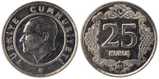 25 Turkish kurus coin, 2011, both sides Stock Photos