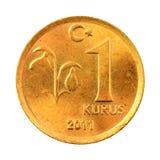 Turkish Kurus. One Turkish Kurus coin (Front) Isolated on white background Stock Photo