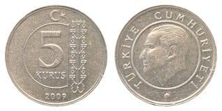 5 turkish kurush coin Royalty Free Stock Photo