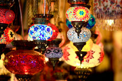 Turkish lamps. Colorful traditional souvenirs from turkey Stock Image