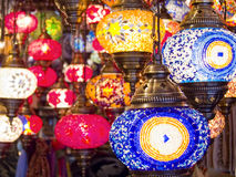 Turkish lamps. Multicolored turkish lamps hanging in a shop Royalty Free Stock Photography