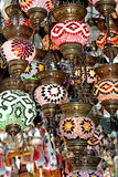 Turkish lamps. Colourful photo traditional Turkish lamps on grand bazaar in Istanbul Stock Photos