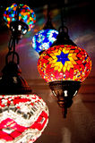 Turkish lamps. Traditional Turkish lamps at night royalty free stock photo