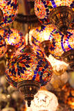 Turkish lamps on Bazaar. Traditional turkish lanterns hanging on Grand Bazaar Royalty Free Stock Photo