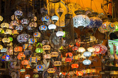 Turkish lamps of colored glass Stock Photography