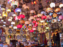 Turkish lamps shop. Multicolored turkish lamps inside a shop in the bazaar Stock Photos