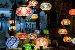 Turkish lamps. Sold in the old town market of Mostar stock image