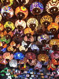 Turkish lamps. A variety of bright turkish mosaic lamps royalty free stock image
